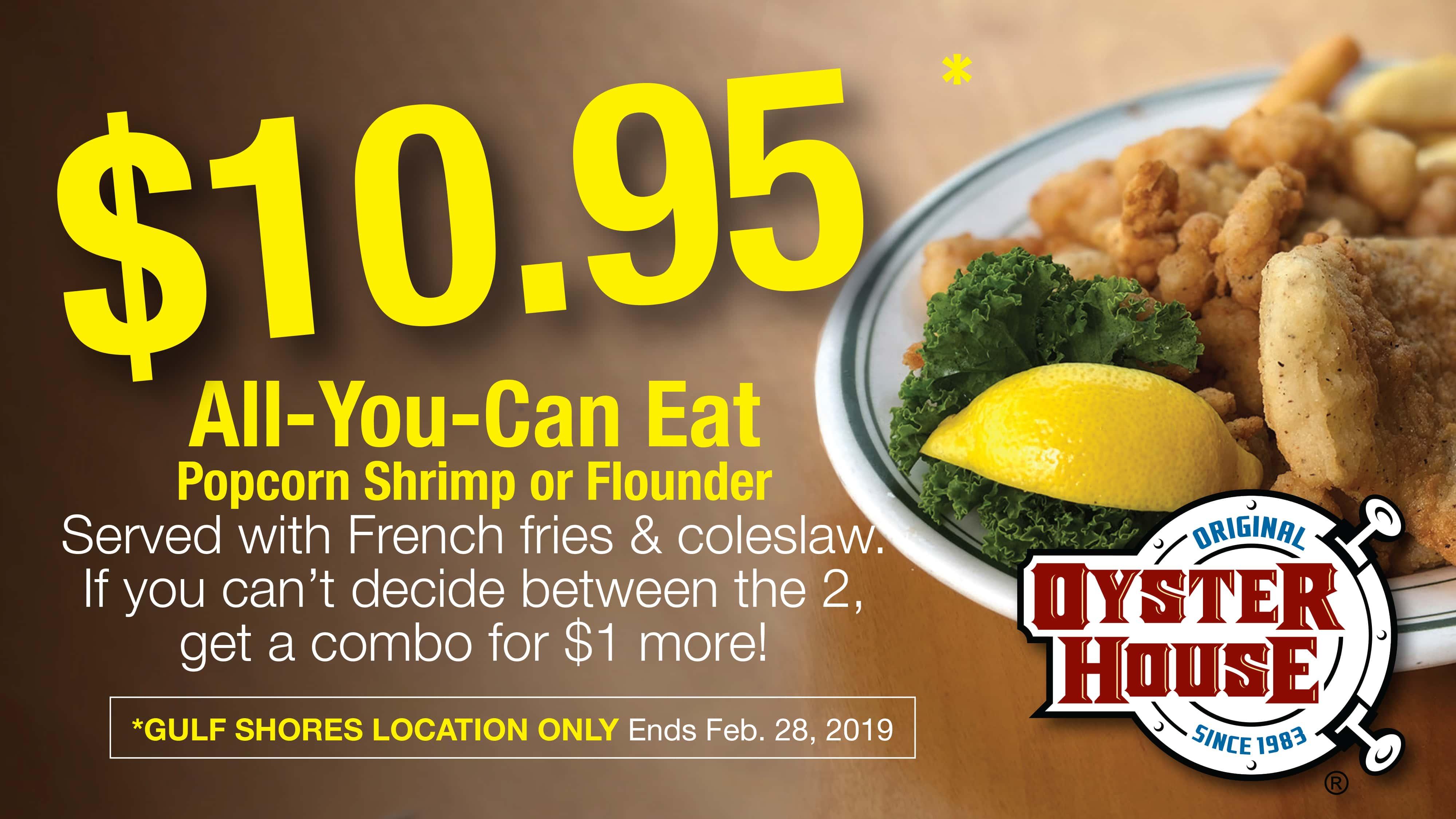 All-You-Can-Eat Popcorn Shrimp & Flounder for $10.95