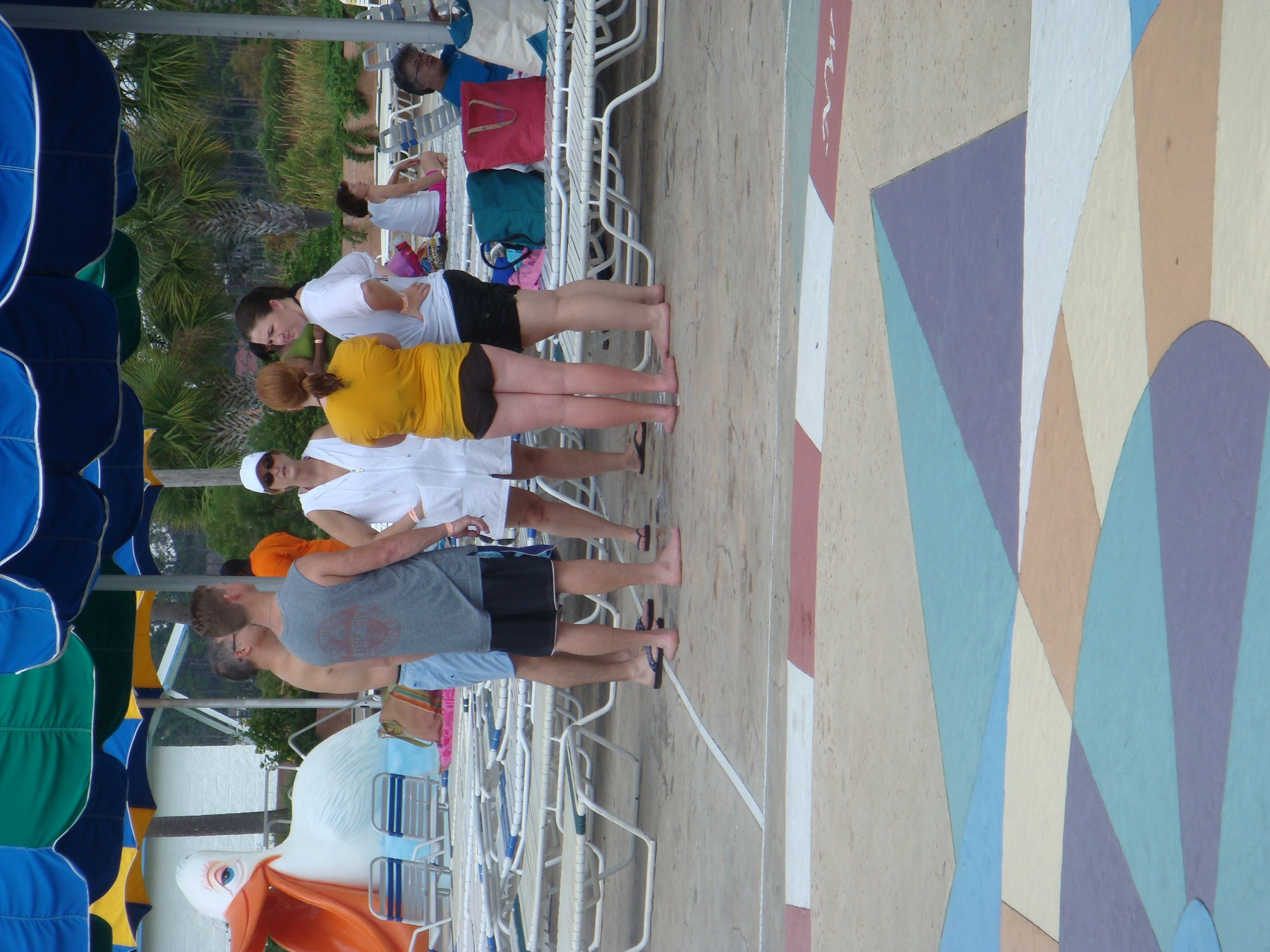 group of adults at water park