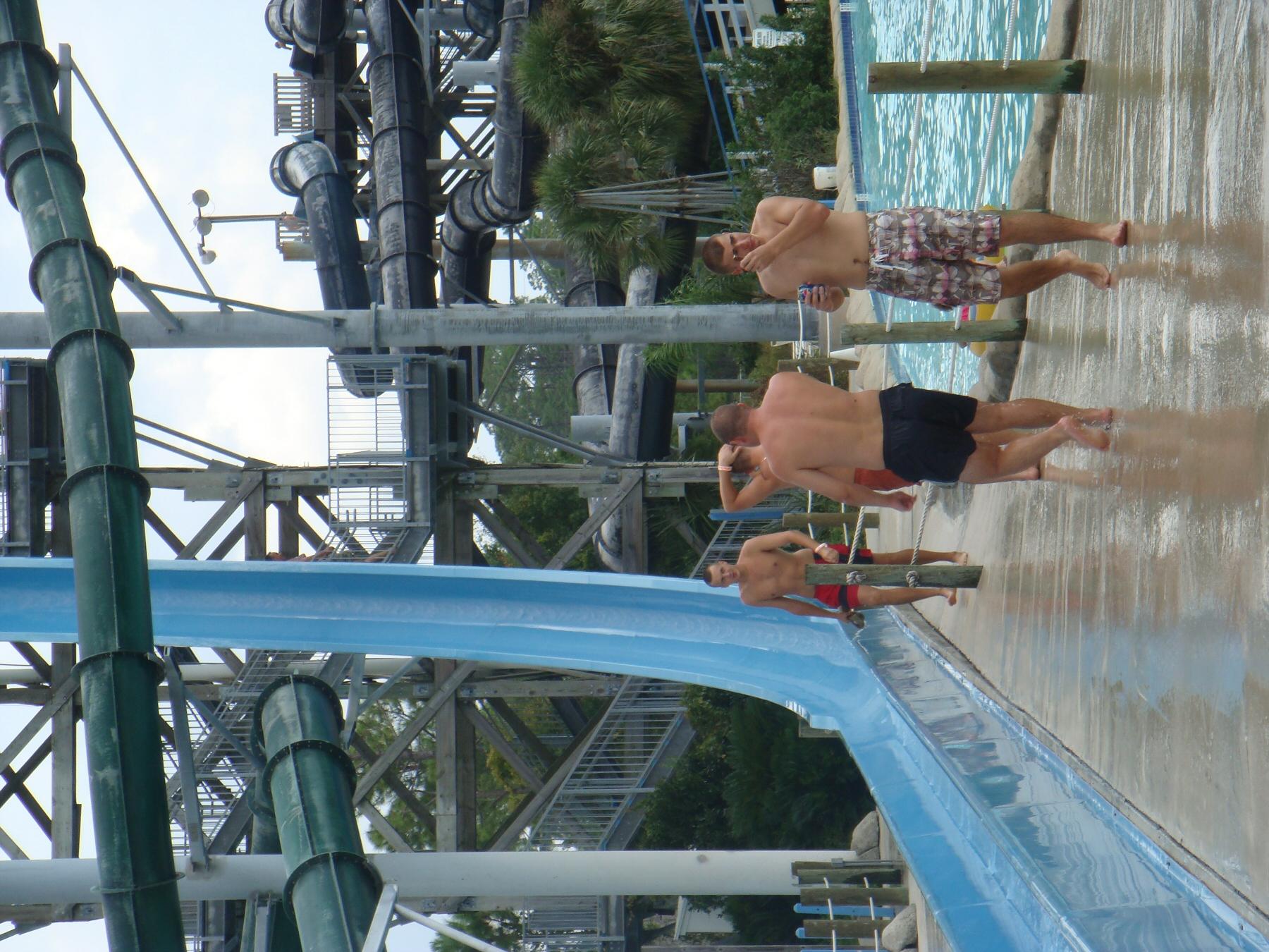 kids at water slide exit