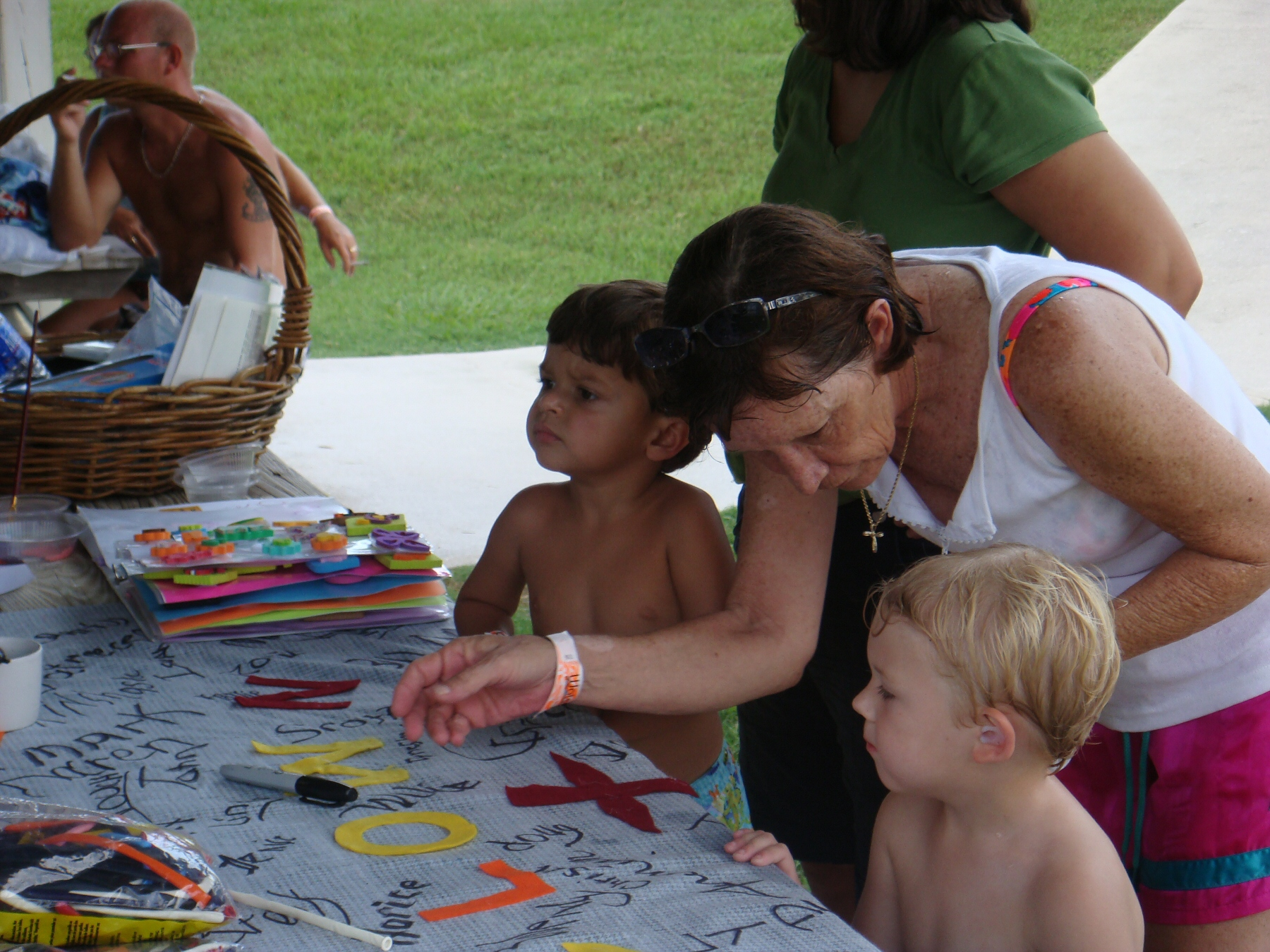 woman and children at employee picnic