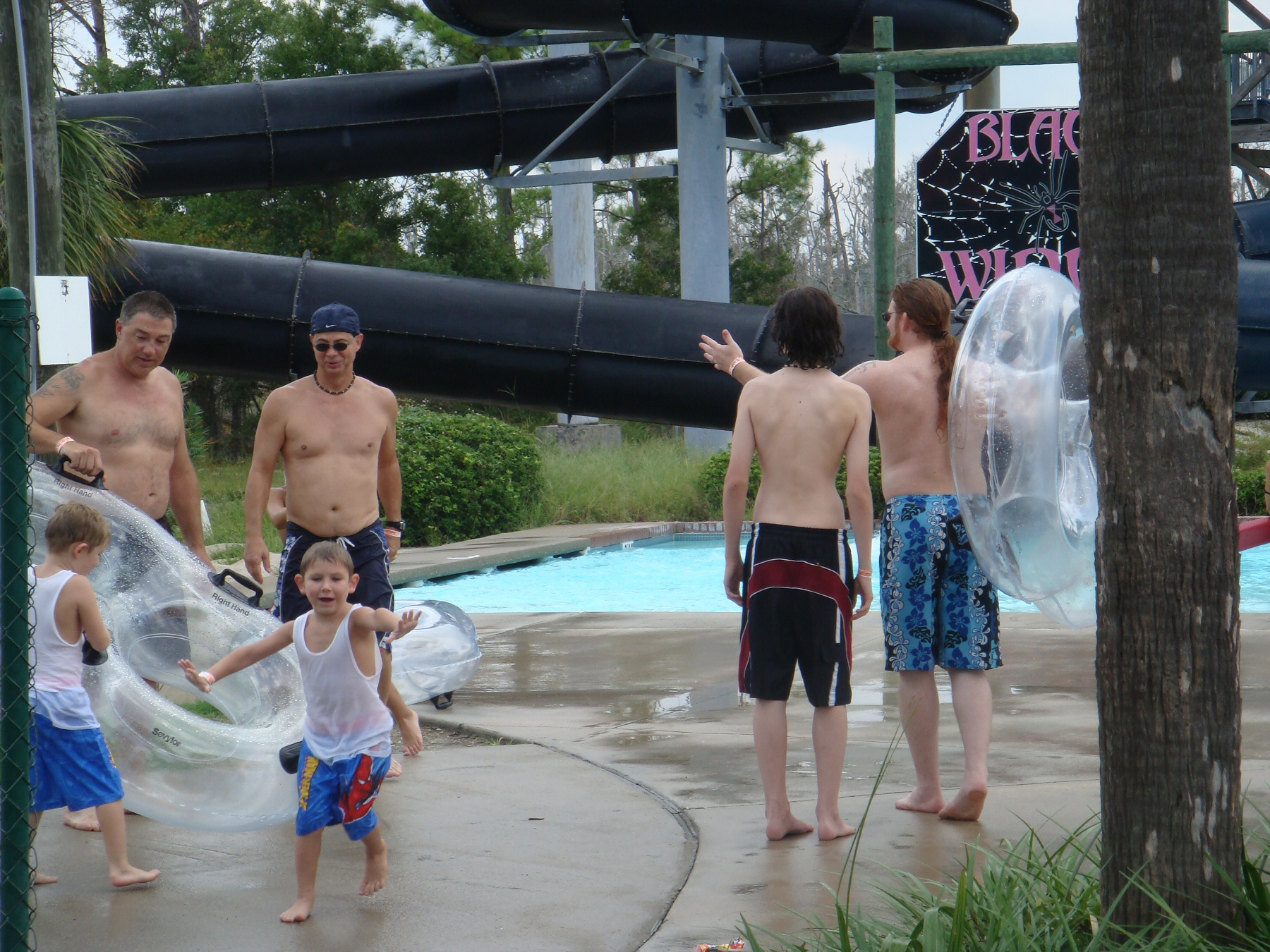 black slide at water park
