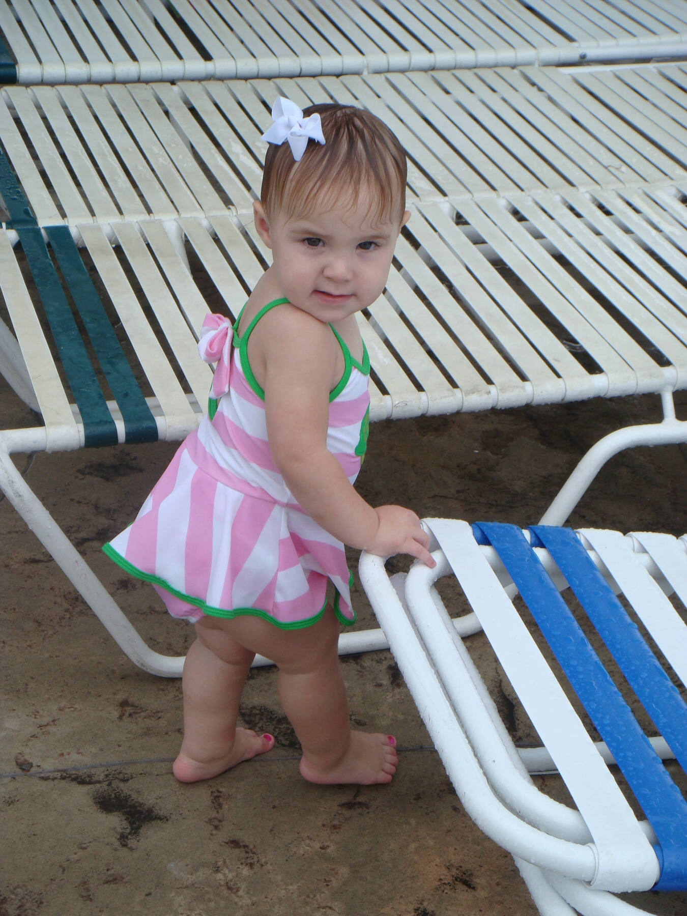little girl at water park