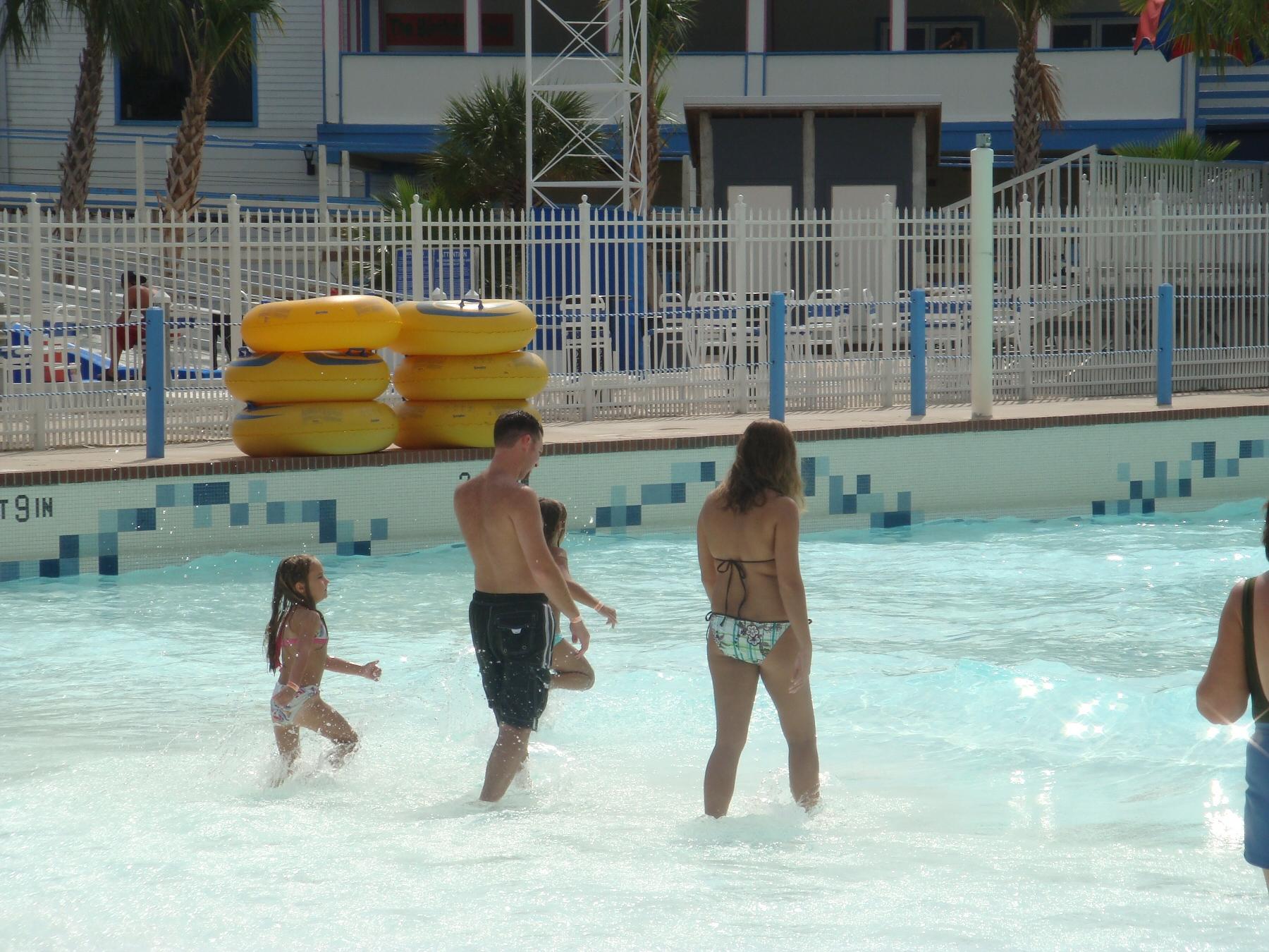 people walking in pool