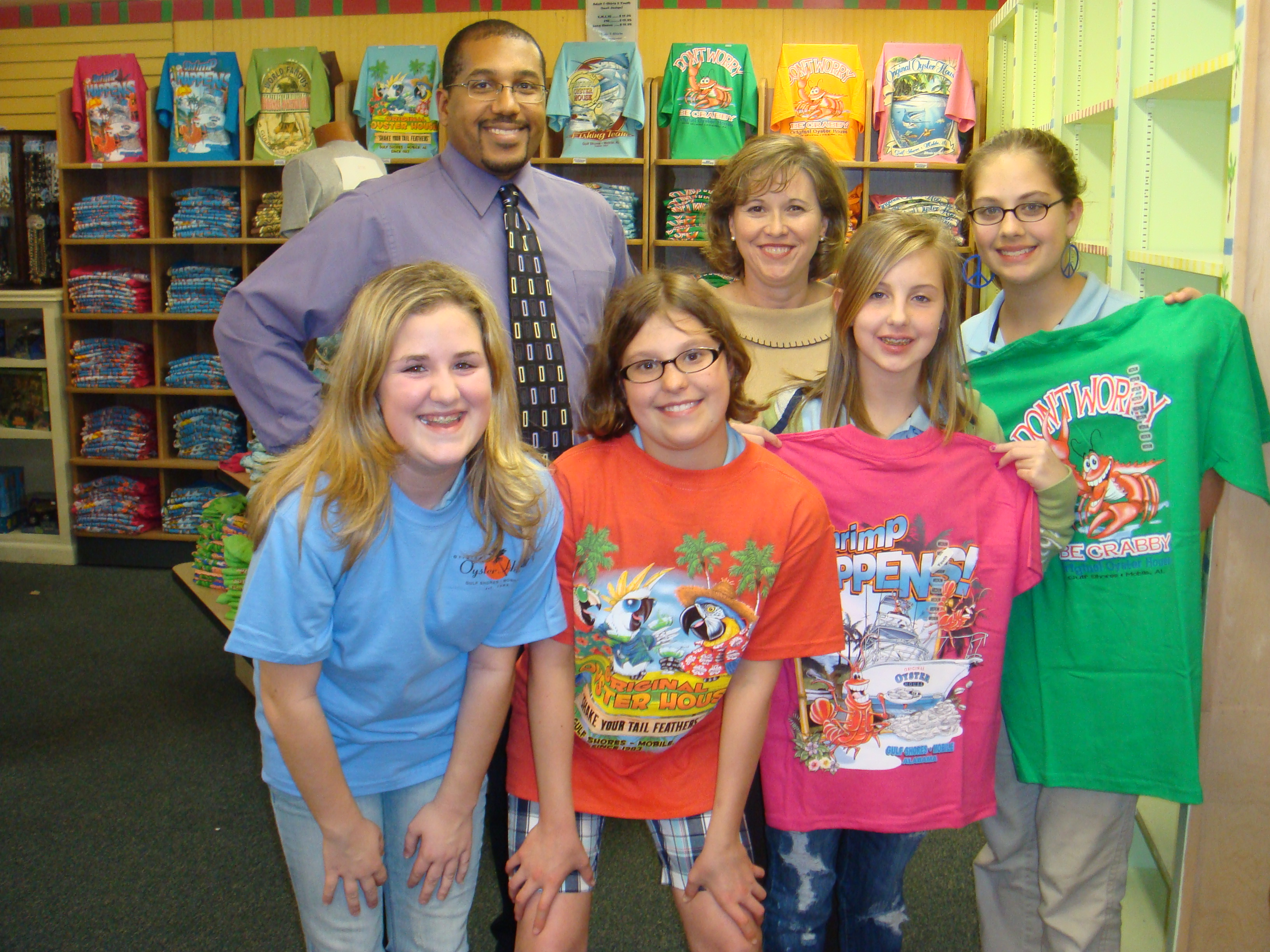 Group of students from Gulf Shores elementary school wearing Original Oyster House Shirts