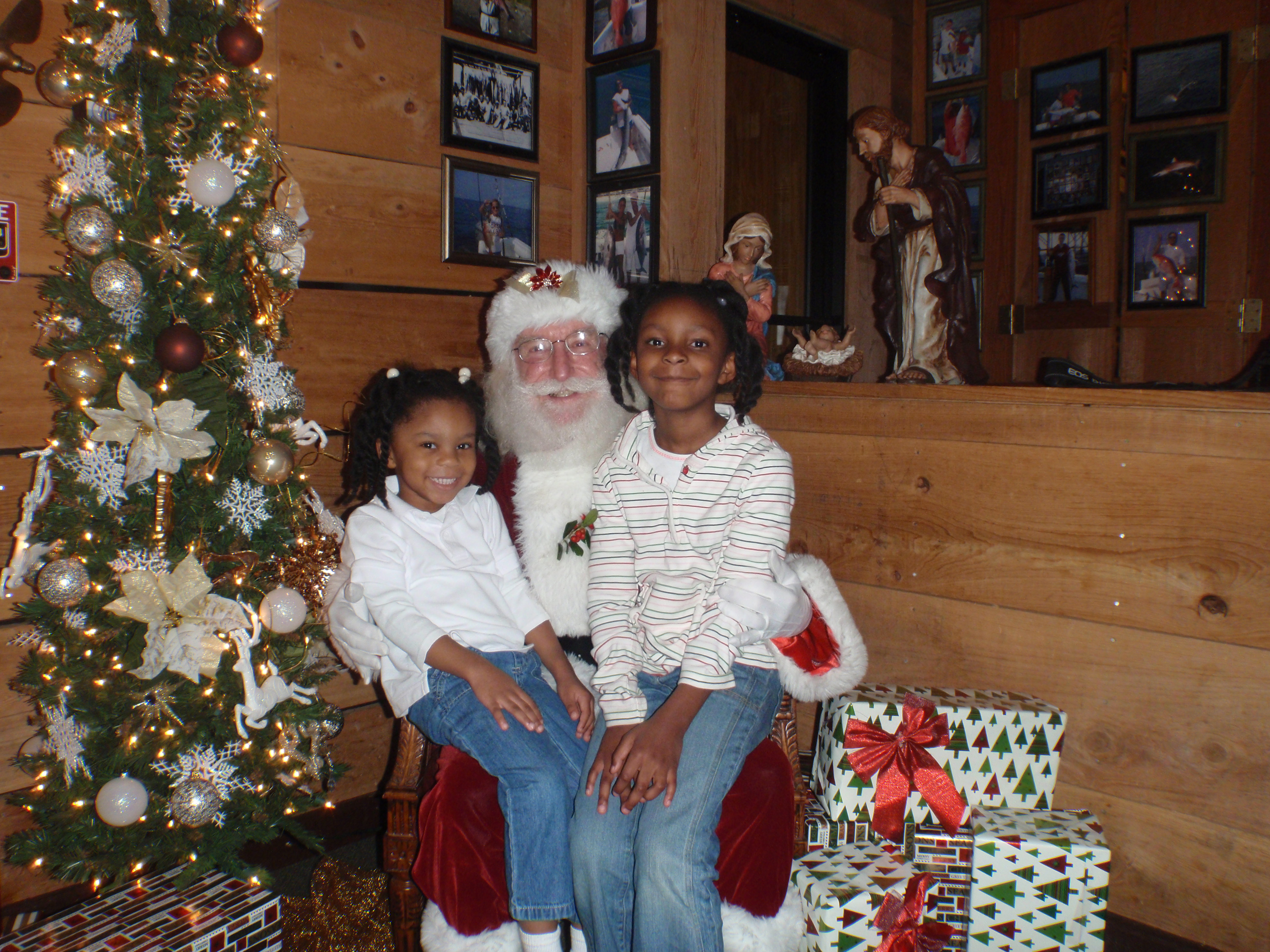 santa with two children