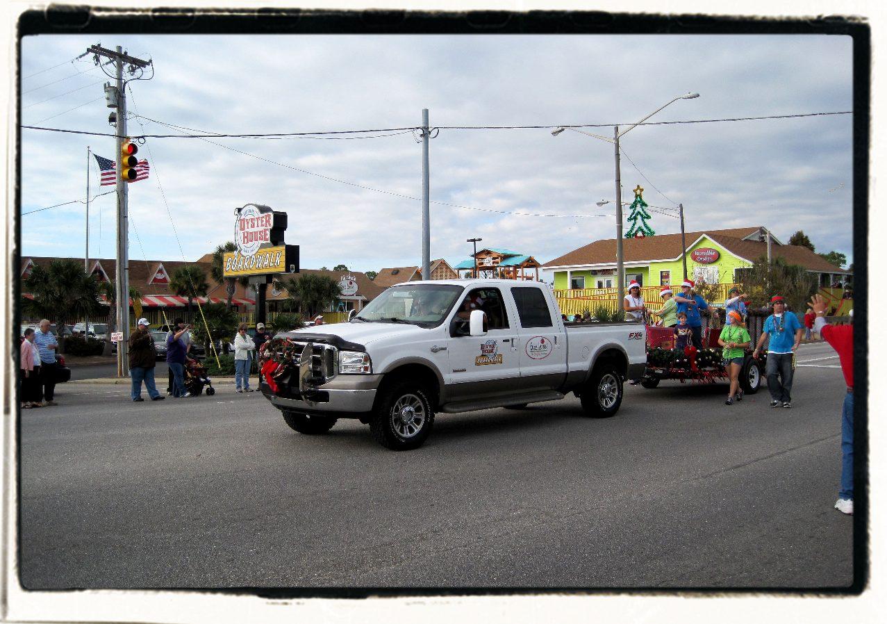 Christmas parade white truck