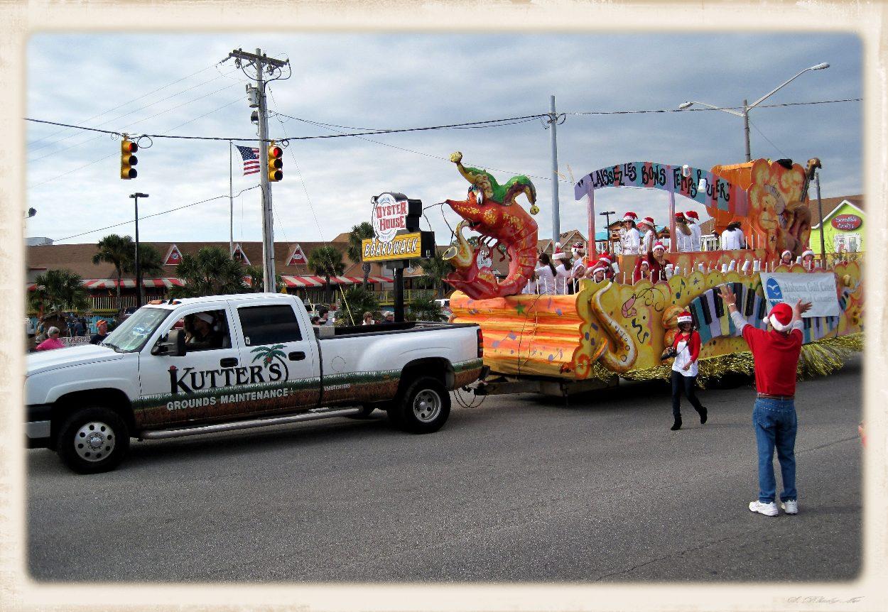 parade float with giant shrimp