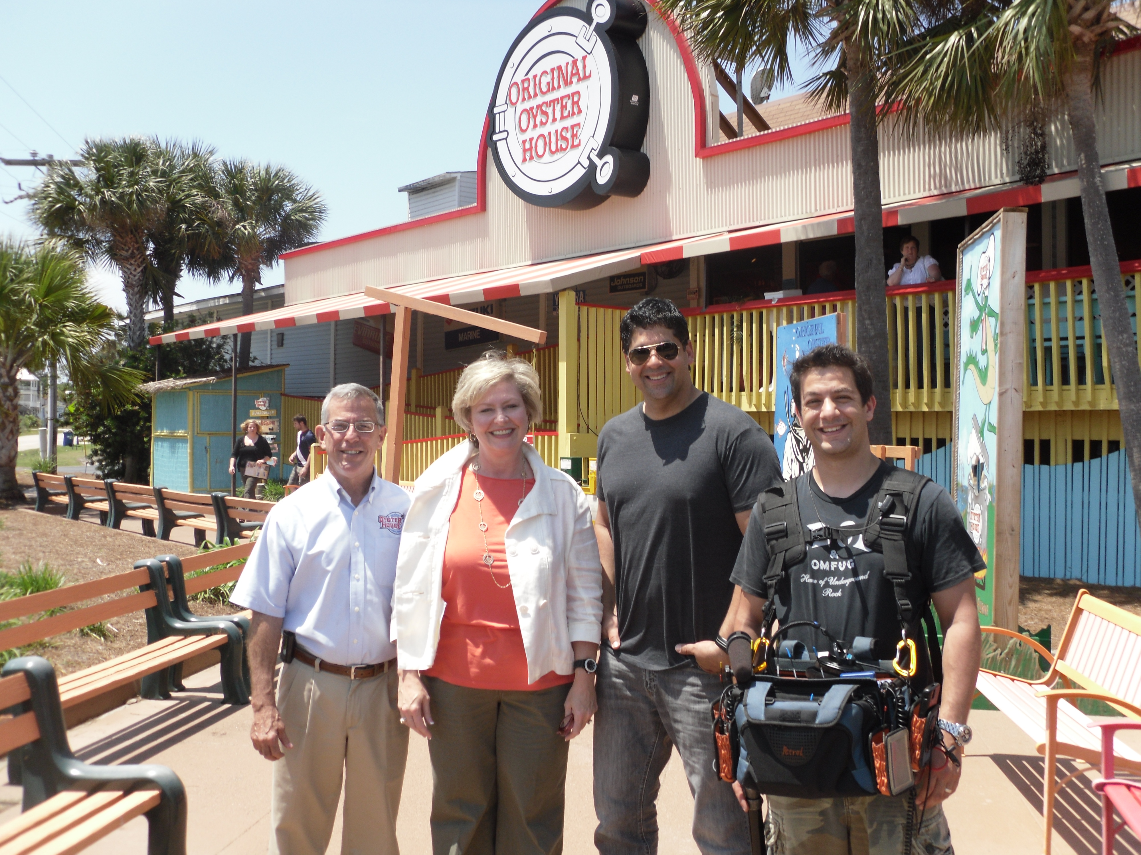 Man Vs Food crew outside of Original oyster house