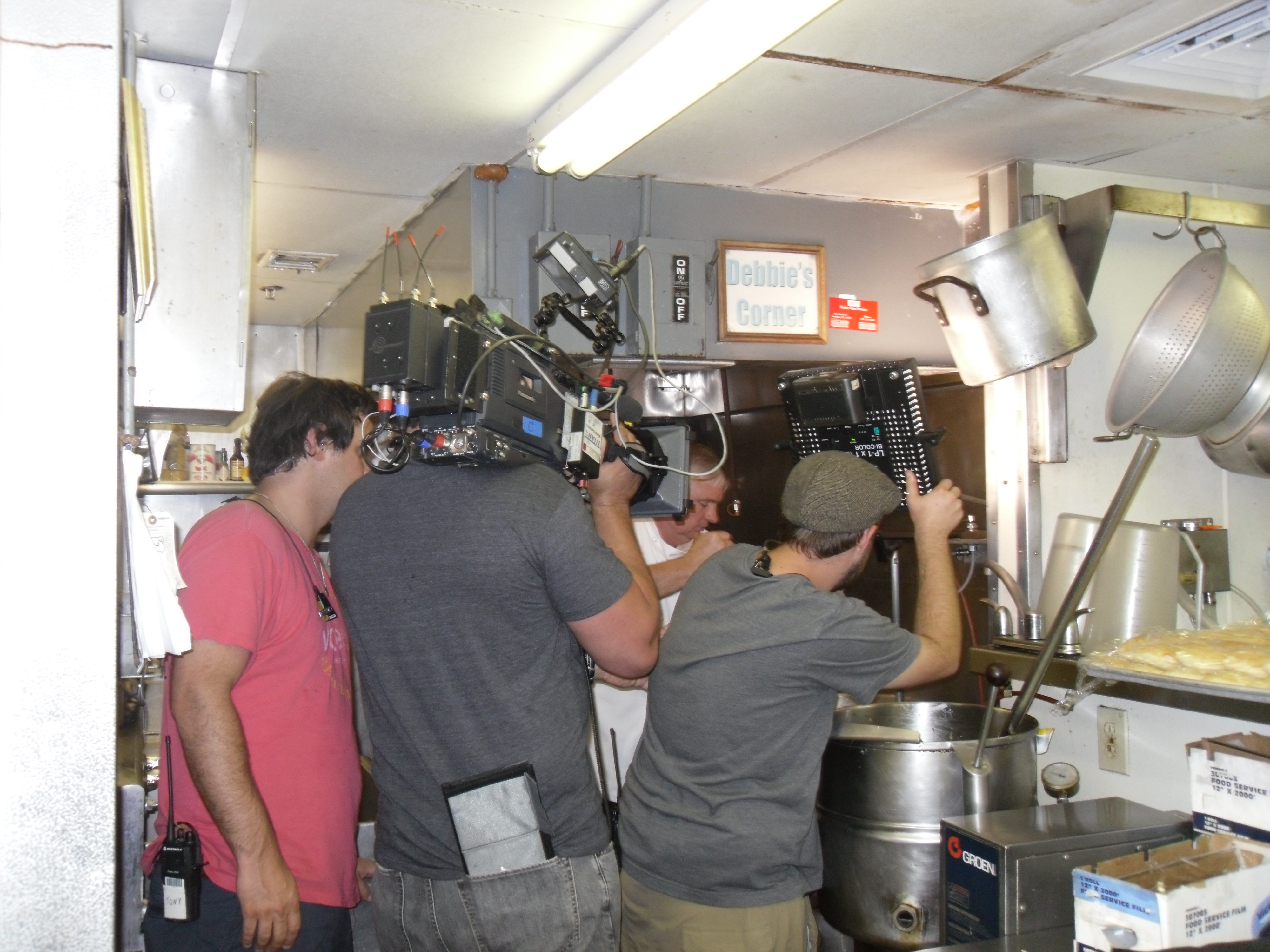 people filming in OOH kitchen