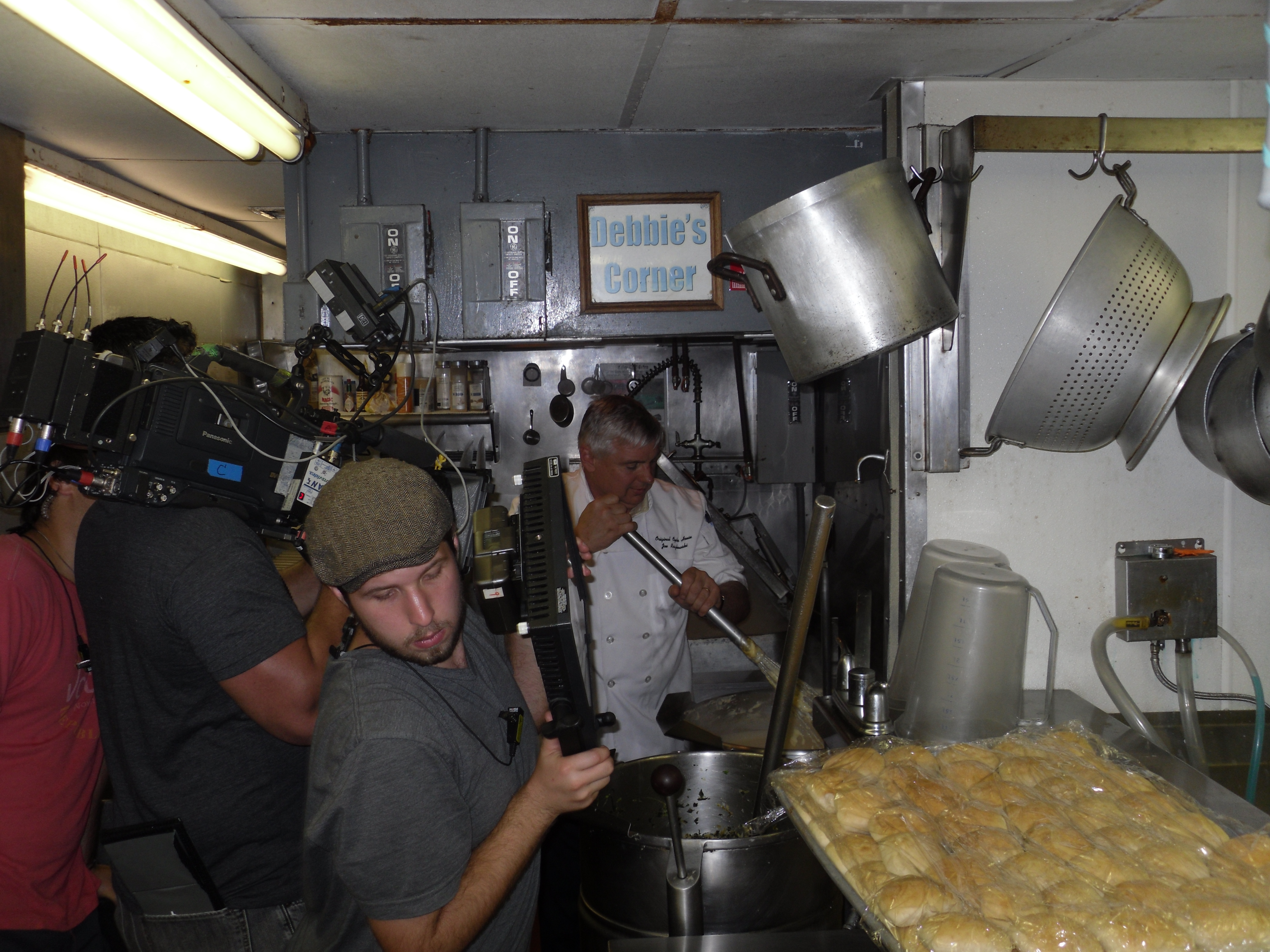 camera crew filming in OOH kitchen