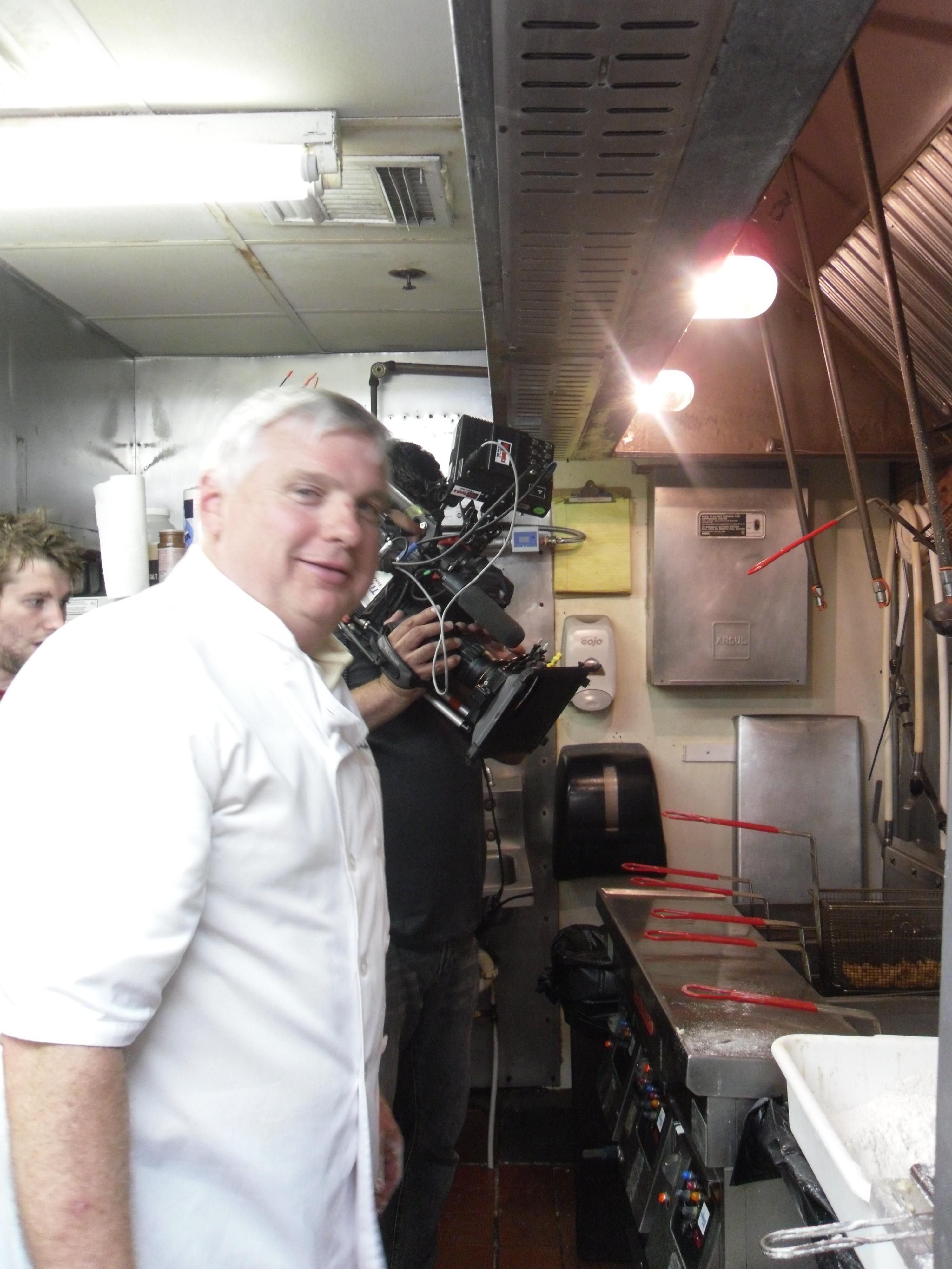 camera crew in OOH kitchen