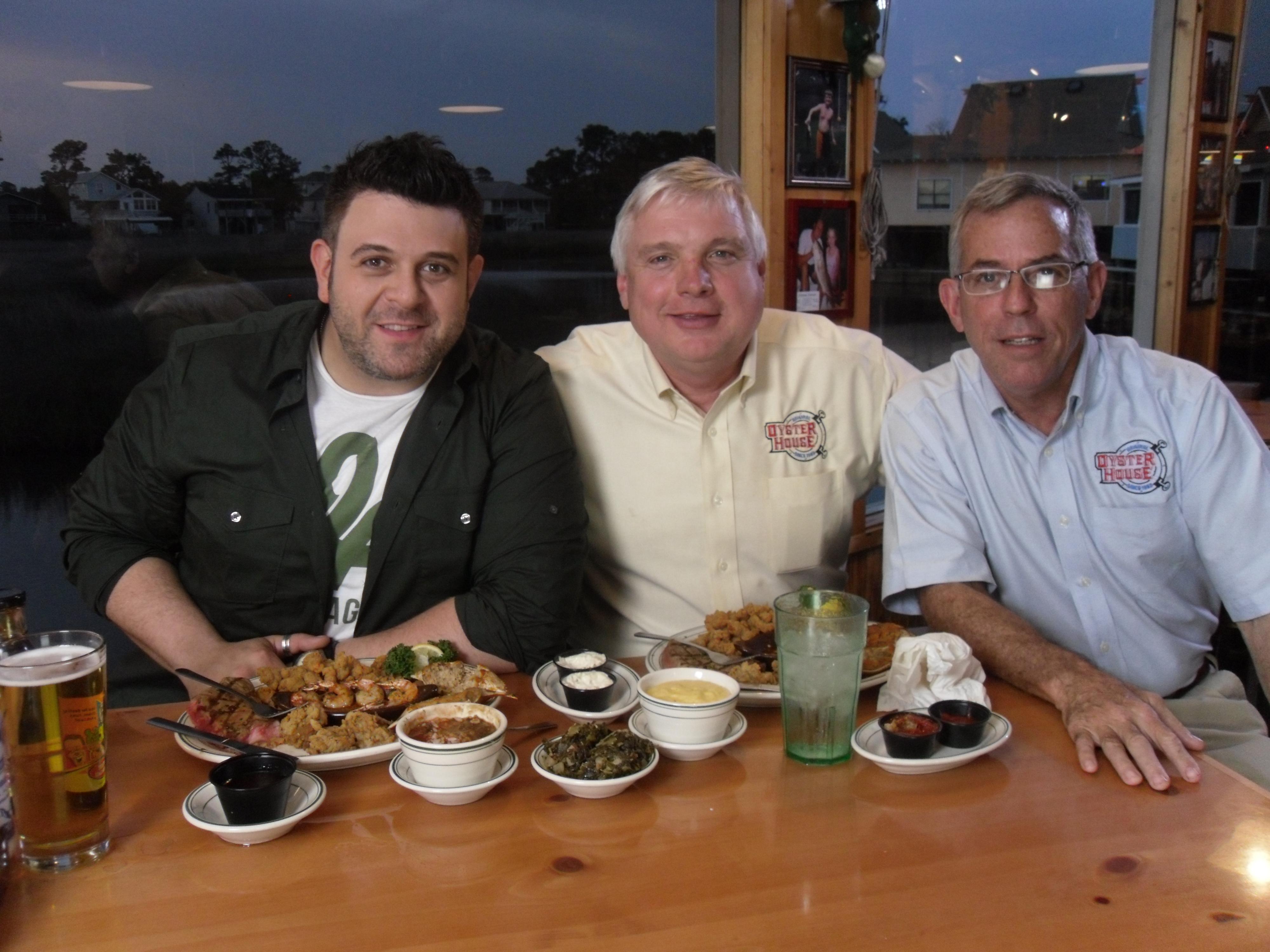 Adam Richman from Man vs. Food, American food reality television series, joins Original Oyster House founders Joe Roszkowski & David Dekle in creating a new menu item.