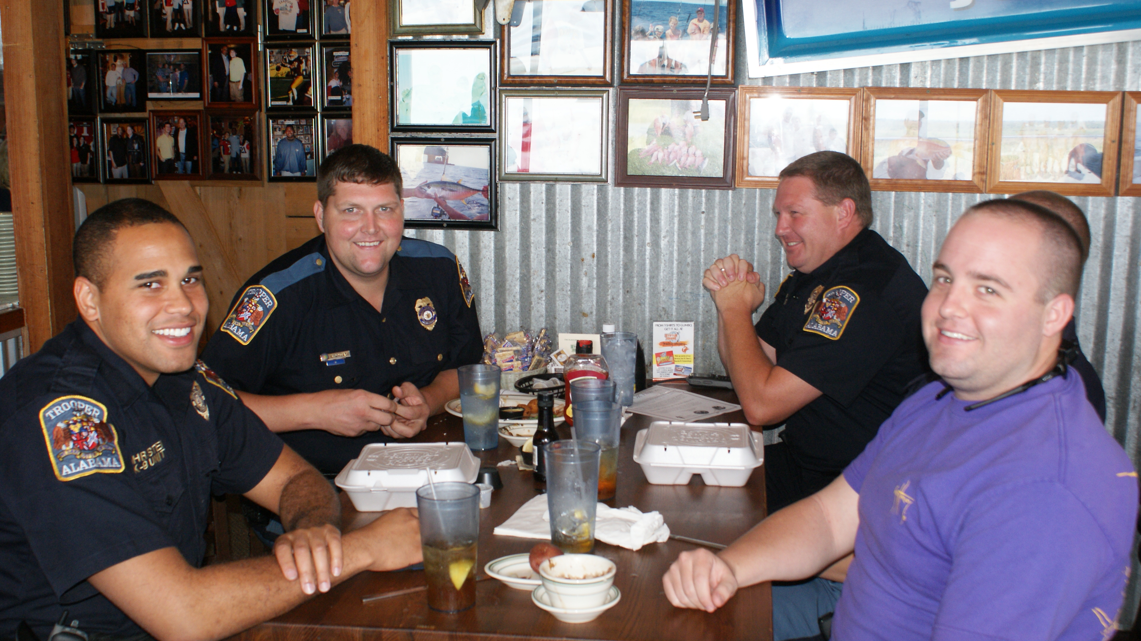 Policemen enjoying lunch at Original Oyster Houses Never Forget Lunch