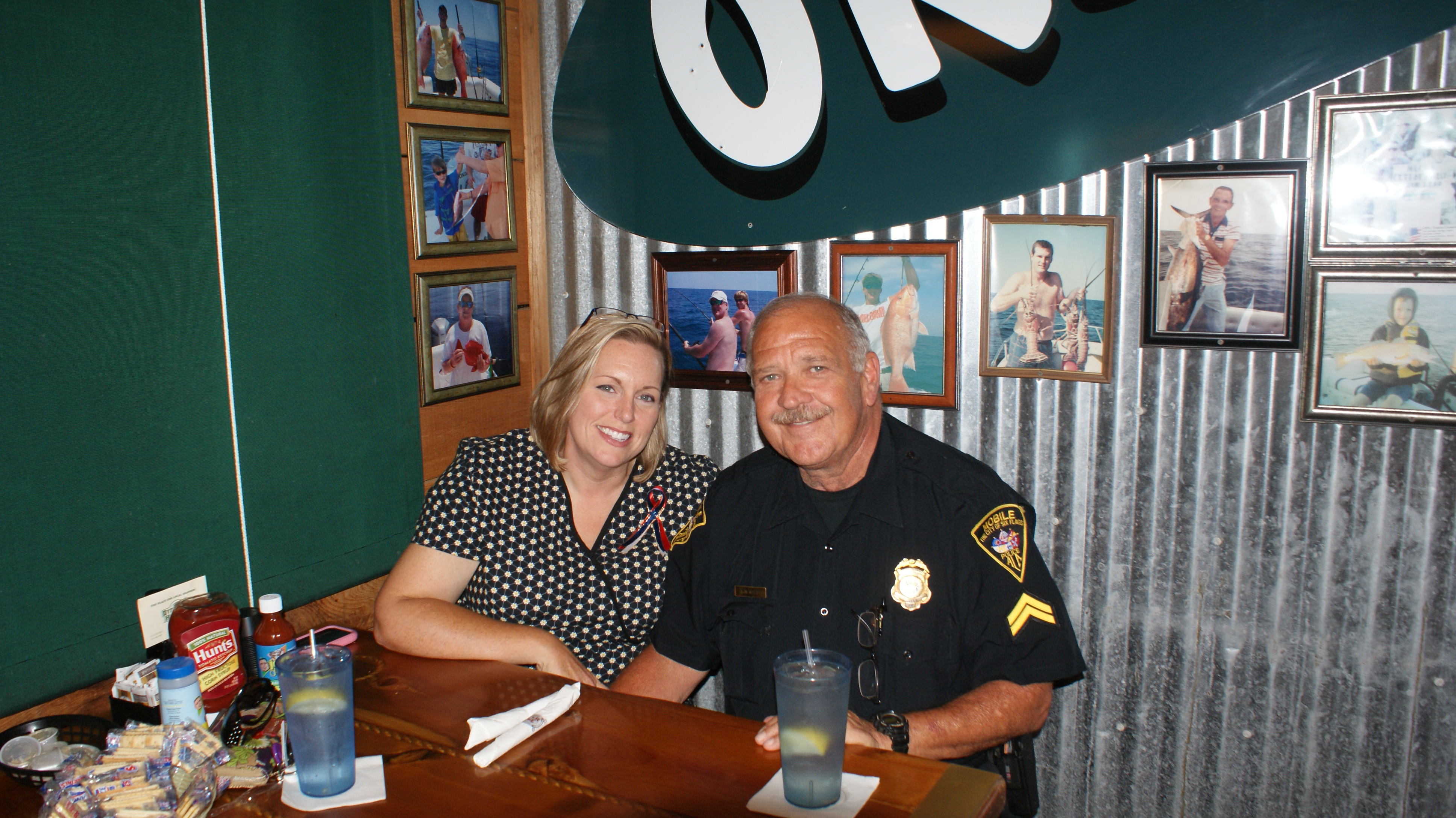 Firefighter and his wife enjoying lunch at Original Oyster House Never Forget Lunch