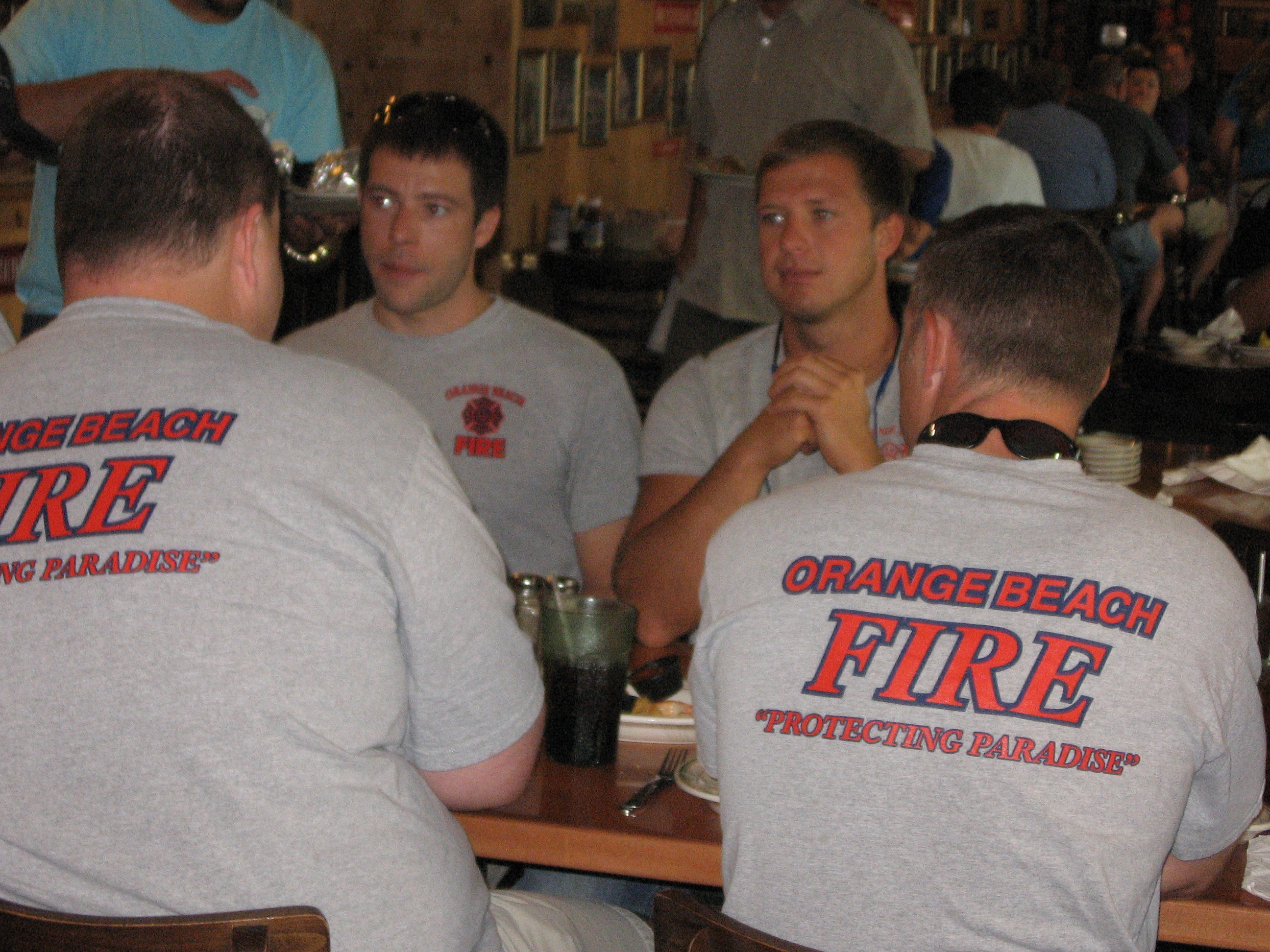 Orange Beach Firefighters enjoying lunch at Original Oyster House Never Forget Lunch