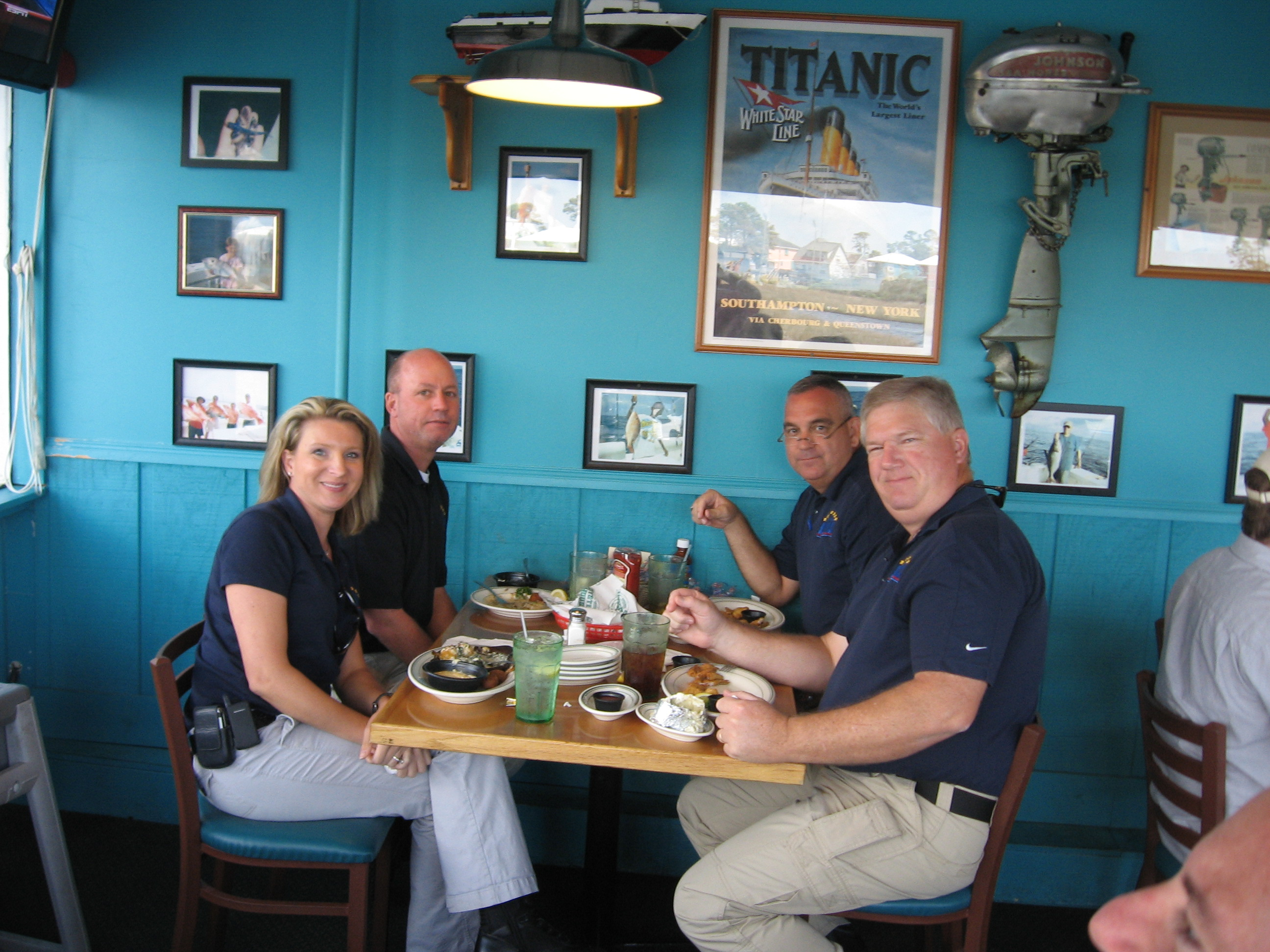 Group of Firefighters enjoying lunch at Original Oyster House never forget lunch
