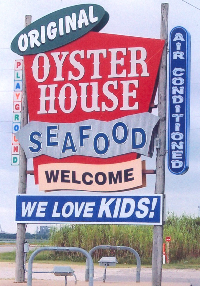 Original Oyster House Loves Kids sign