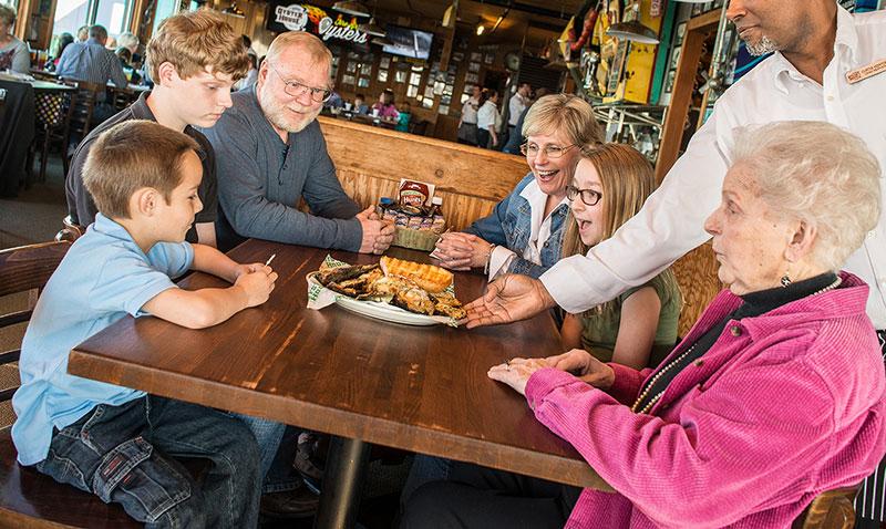 Family eating at Restaurant