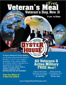 Free Meal on Veteran's Day poster