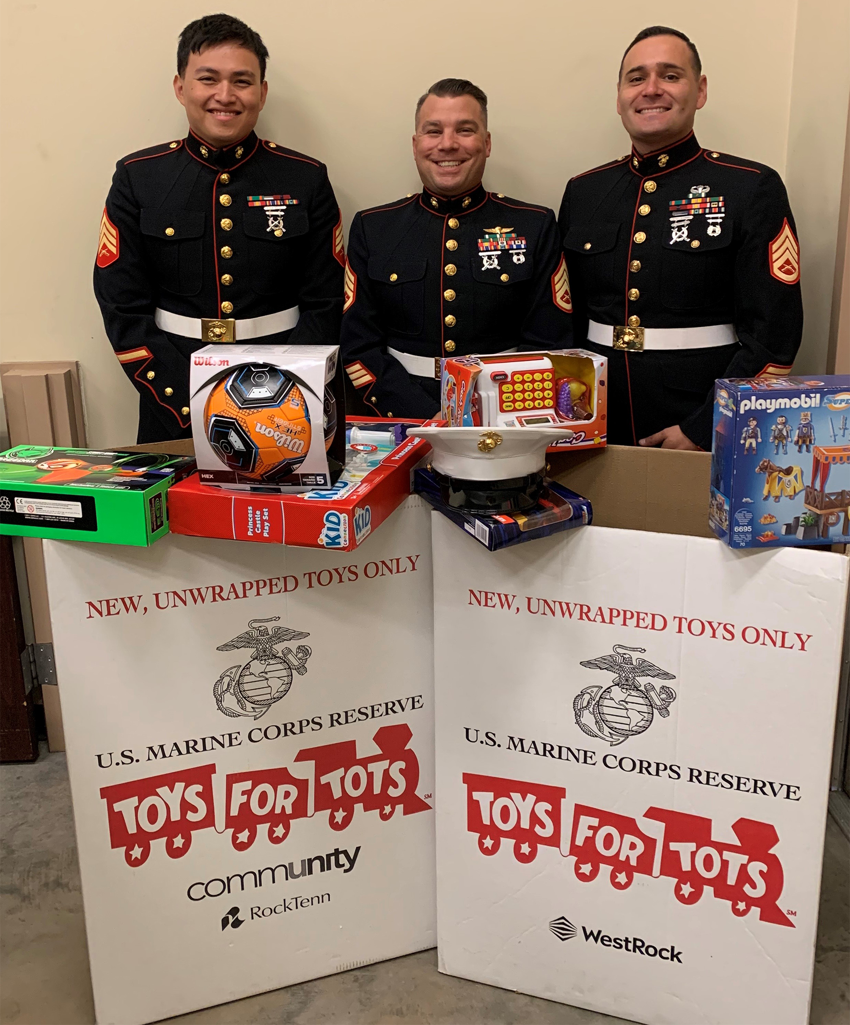Toys for Tots US Marines in dress blues