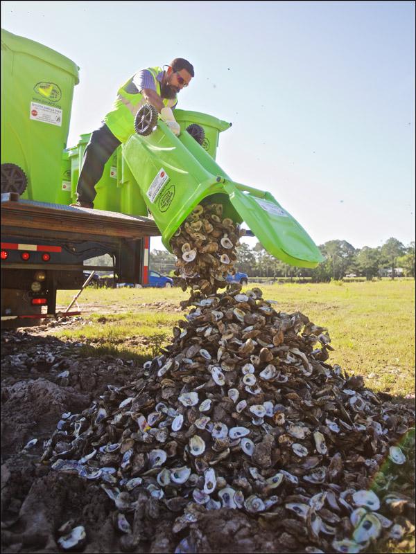Oyster Shell recycling program through the Alabama Coastal Foundation