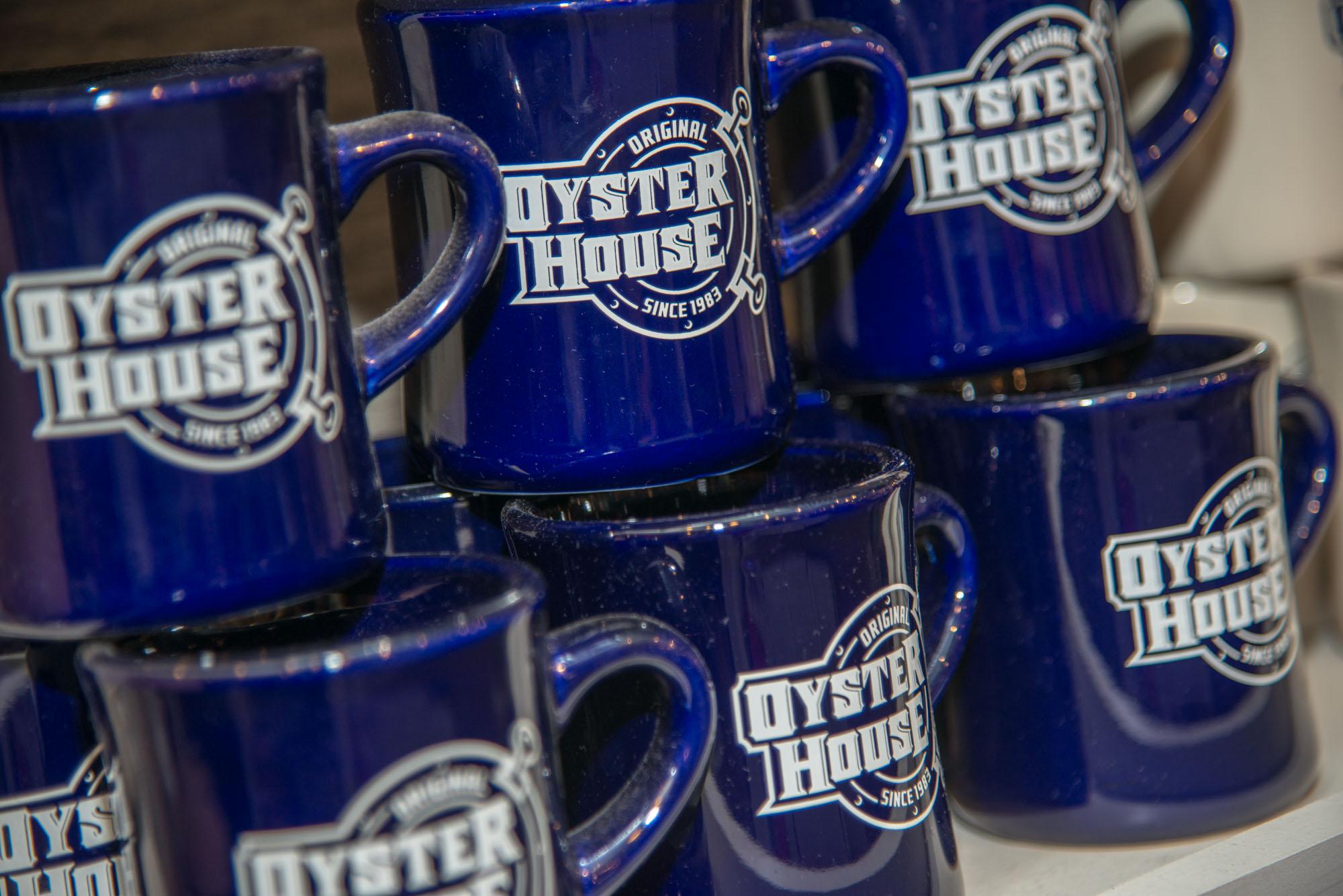 original oyster house blue mugs