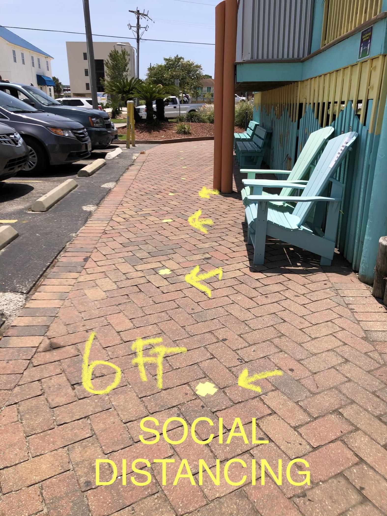 6 Feet Social Distance Fluorescent Yellow Tape to mark every 6 feet