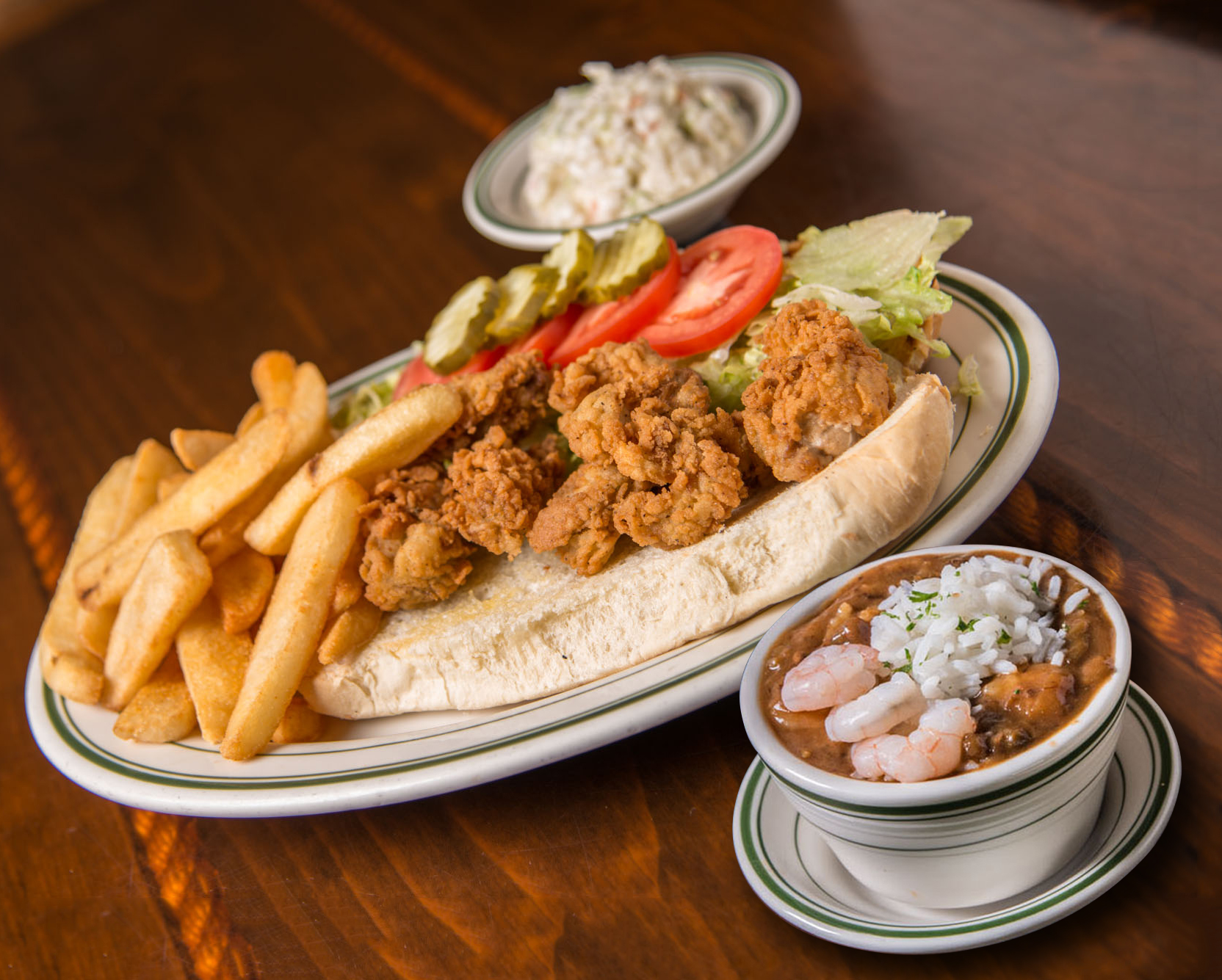 A cup of seafood gumbo paired with the Oyster Po'Boy is $15 during Alabama Restaurant Week