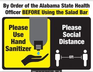 Salad Bar Coronavirus Sign Please use Hand Sanitizer Before Using the Salad Bar.