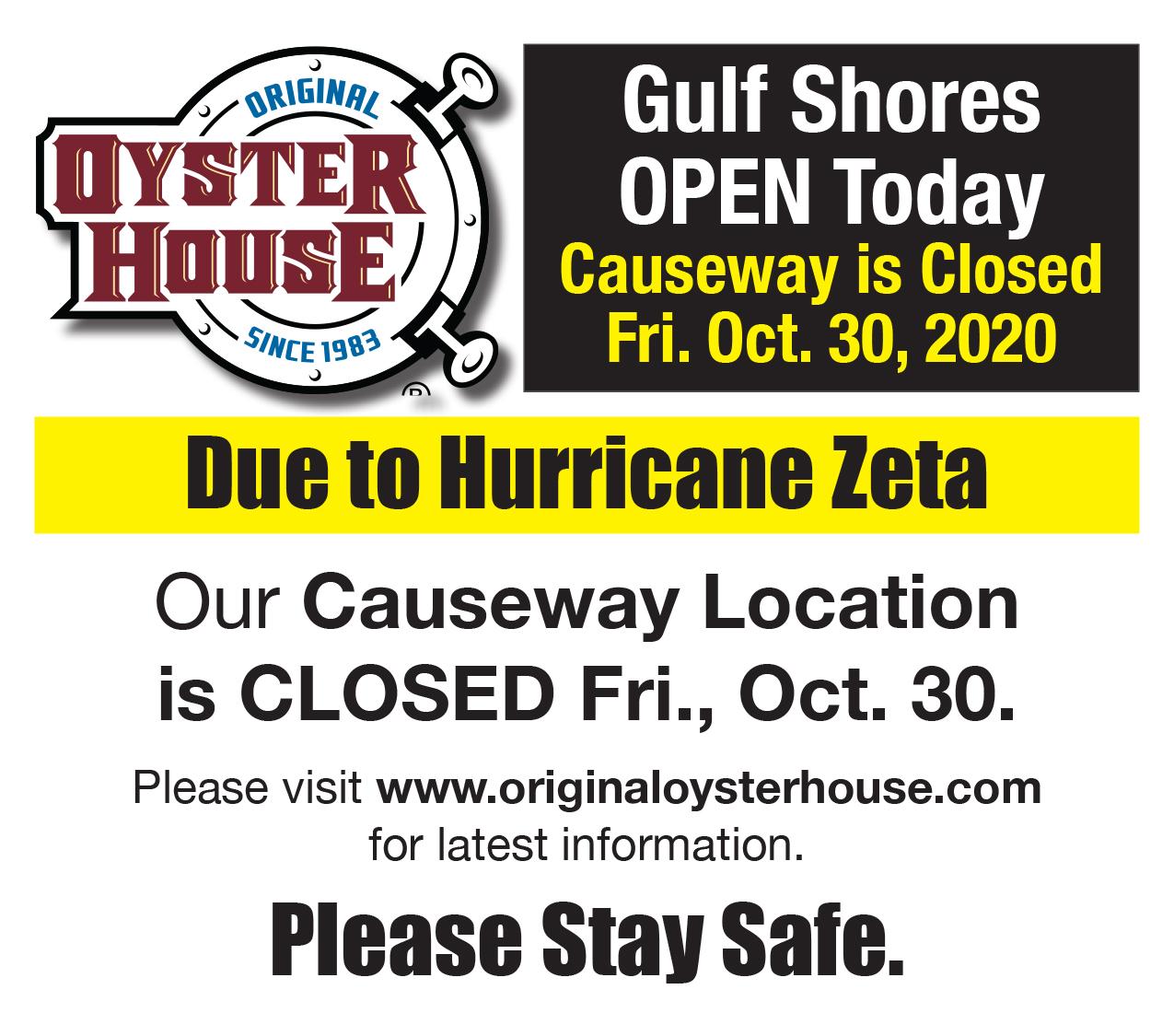 Gulf Shores Open | Causeway Closed Fri. Oct. 30 due to Hurricane Zeta