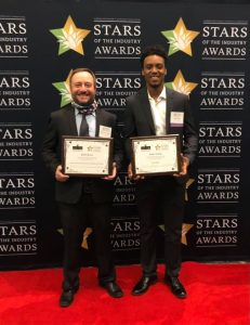 Pictured from left are Buster Burns, state finalist front of the house restaurant and Rufus Young, Spirit Award winner.