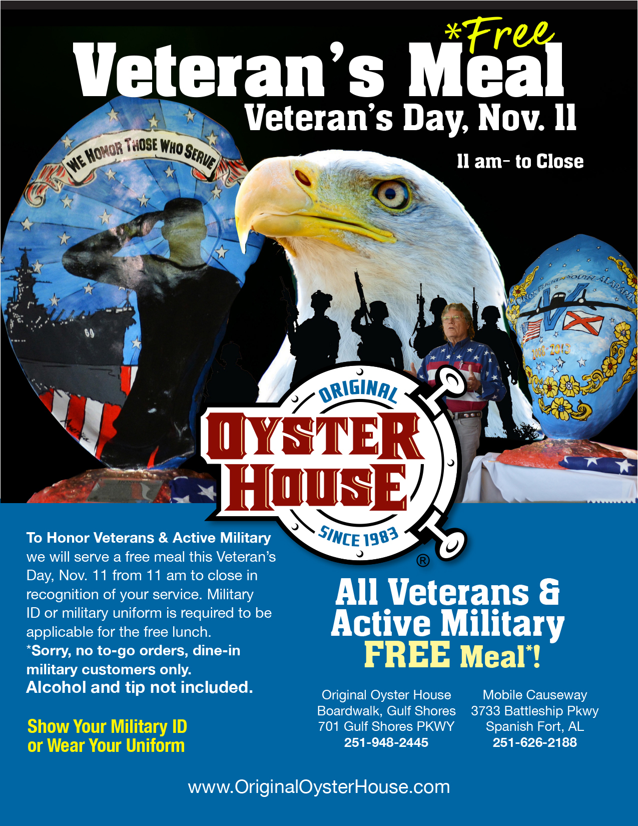 Original Oyster House Honors Military with Free Meal on Veteran's Day