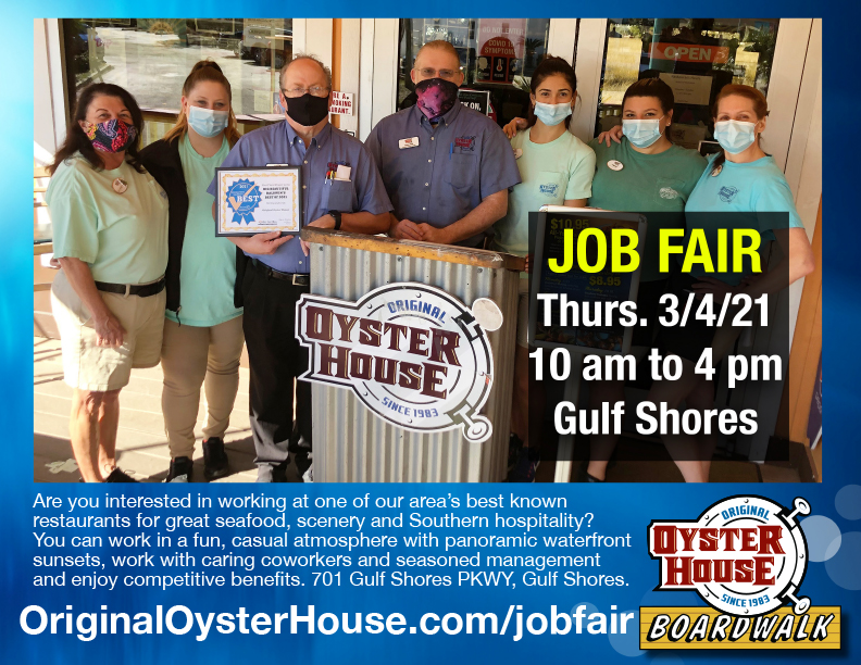 Gulf Shores Original Oyster House Job Fair, Thurs. March 4